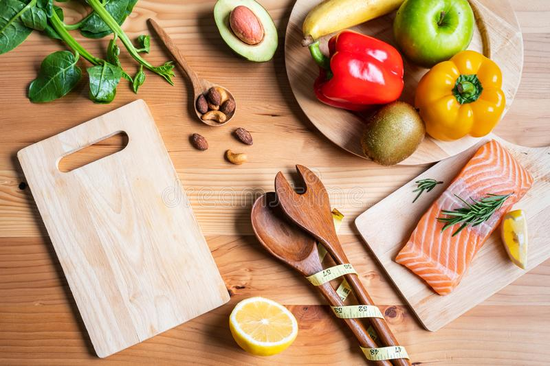 Selection of healthy food for heart. On wooden background royalty free stock photography