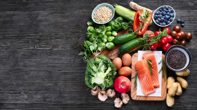 Selection of healthy food. Top view with copy space royalty free stock photo
