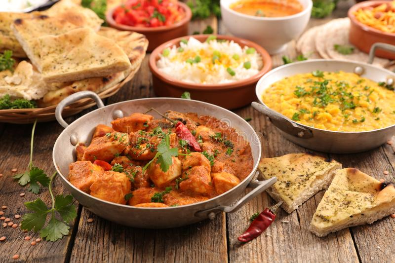 Selection of indian food. On wood royalty free stock image