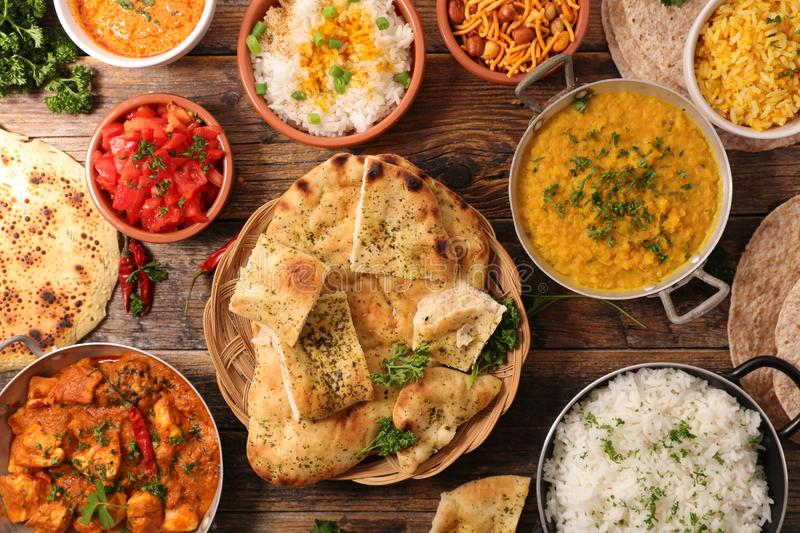 Selection of indian food. Top view stock images