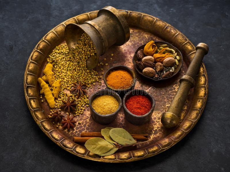 Selection of Indian Spices and seasonings stock photo