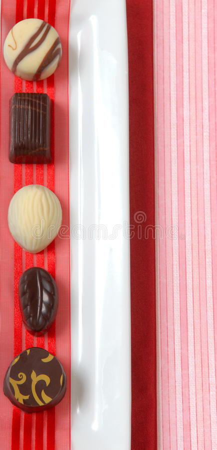 Selection of luscious hand dipped chocolates royalty free stock photos