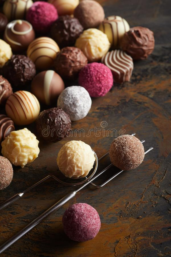 Selection of luxury chocolate fondants or pralines stock photo