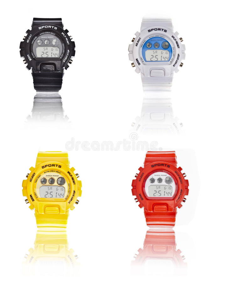 Selection of Men sport wrist watch. Selection of Men colorful sport wrist watch on a white background stock image