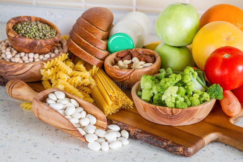 Selection of nutrients for vegetarian diet royalty free stock image