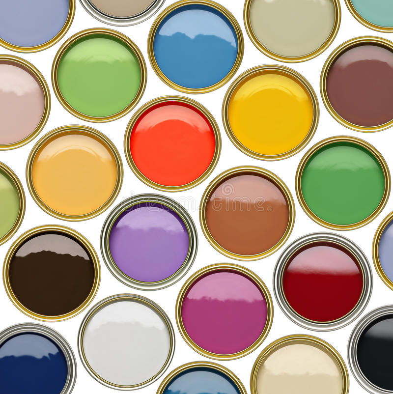 Selection of open paint tins with many colors. Selection of paint tin cans showing many different colors of paint stock image