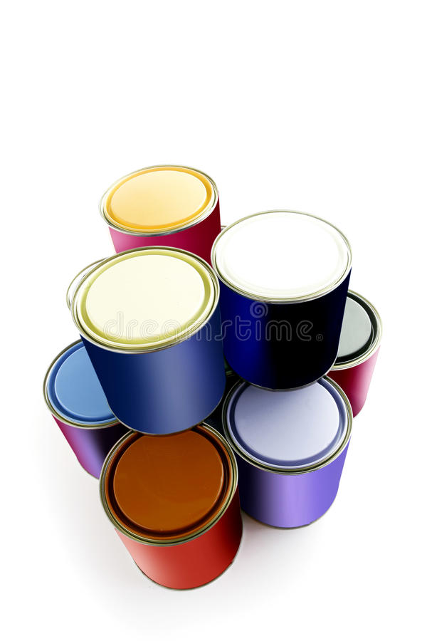 Selection of paint tins stock images
