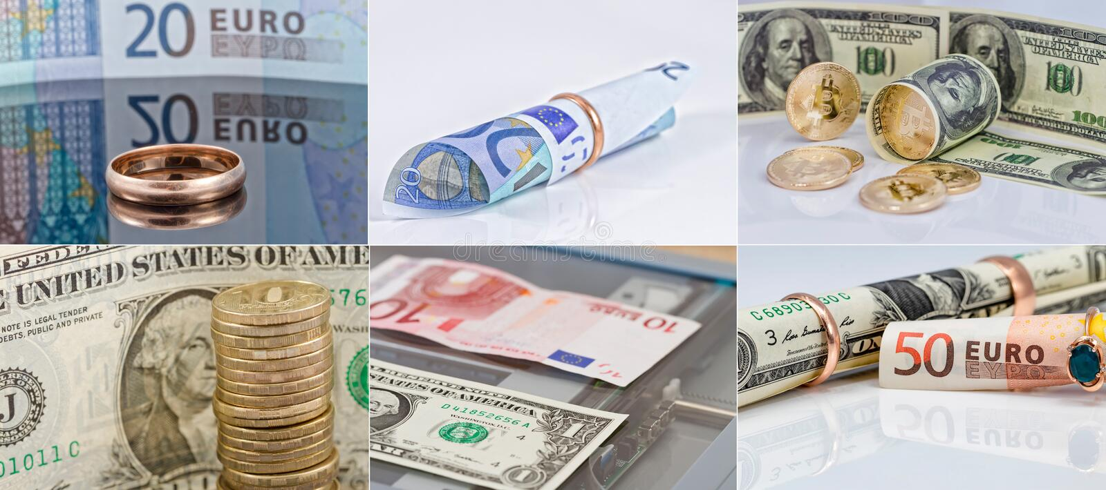 Selection of 6 photos in good resolution on theme of money, currency and buying gold jewelry stock photo