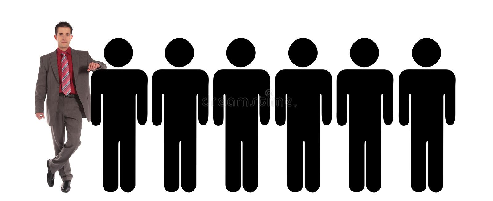 Selection process. A handsome businessman standing next to a row of stylized persons. All on white background stock photography