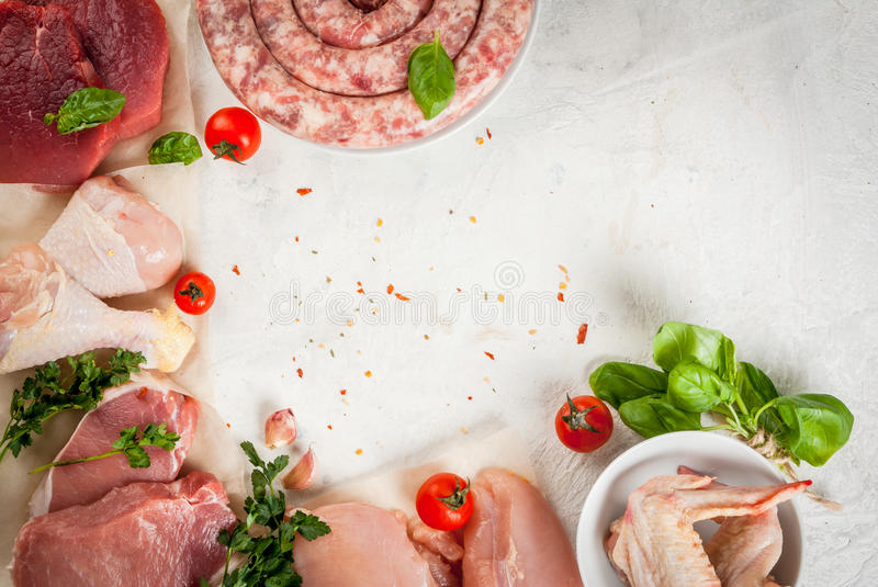 Selection of raw meat stock photo