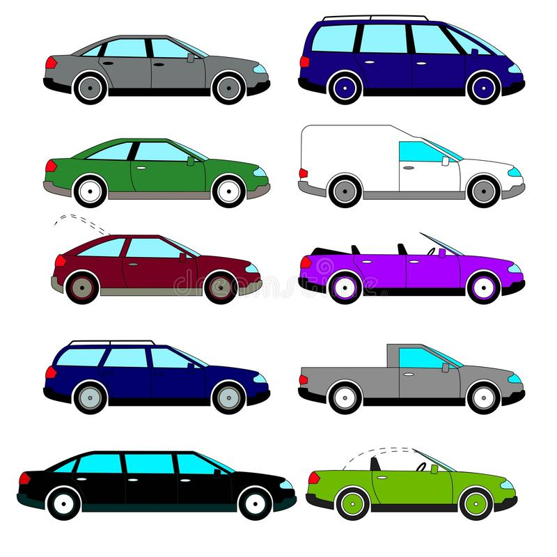 A selection of retro cars. Set of retro cars produced in the 70s-80s of the 20th century stock illustration