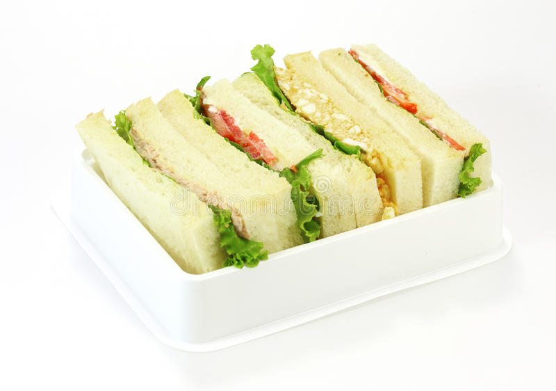 A selection of Sandwiches with various fillings stock image