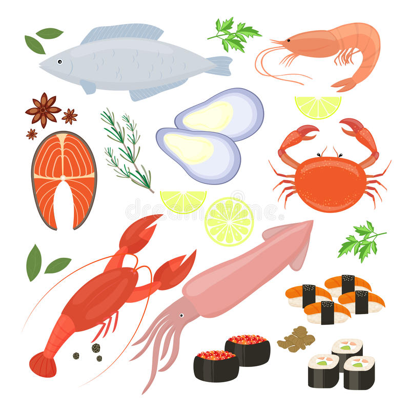 Selection of seafood shrimp and sushi icons. Selection of colorful vector seafood shrimp and sushi icons including cuttlefish calamari fish lobster crab sushi royalty free illustration
