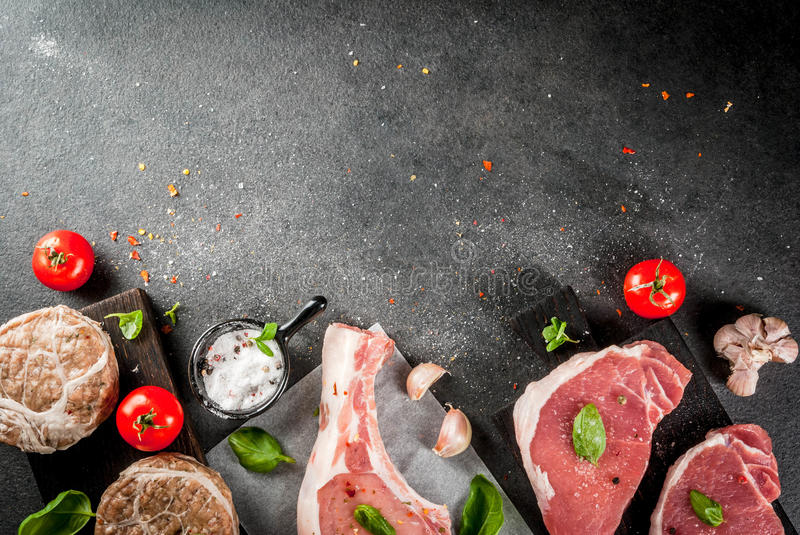 Selection of several types of red meat stock photo