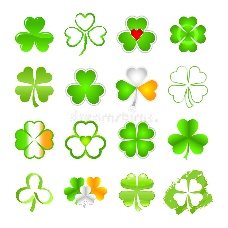 Selection of shamrock. The shamrock emblem or symbol in a selection of designs as used for St. Patrick's Day