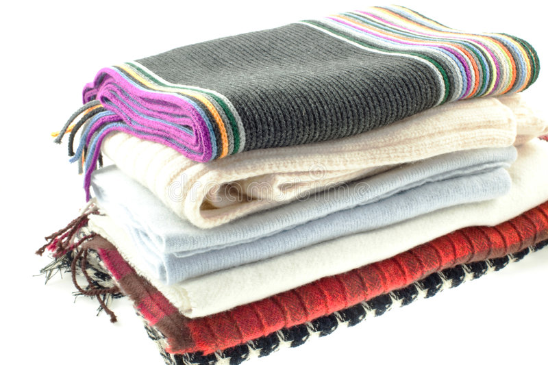 Selection of six wool different scarves royalty free stock photos