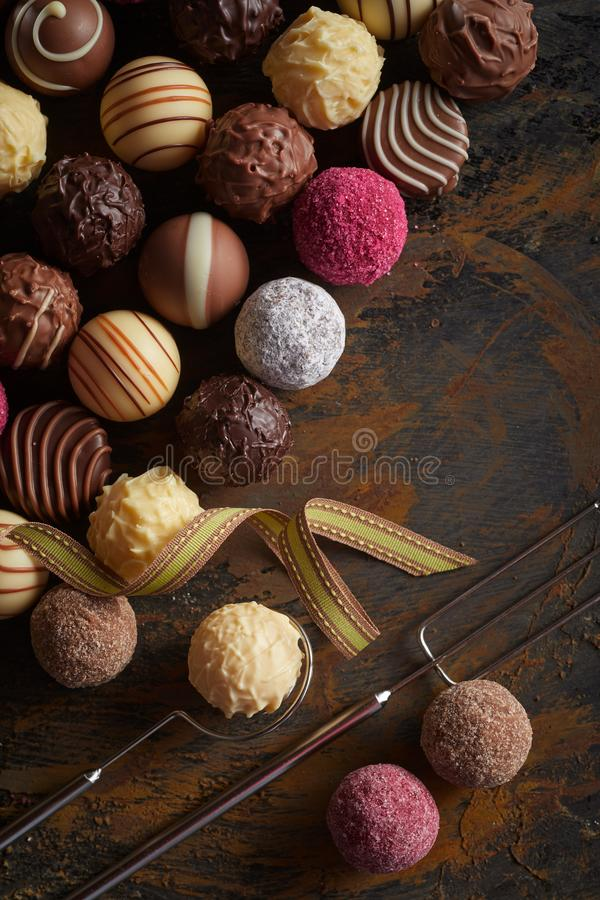 Selection of speciality gourmet chocolate balls royalty free stock images
