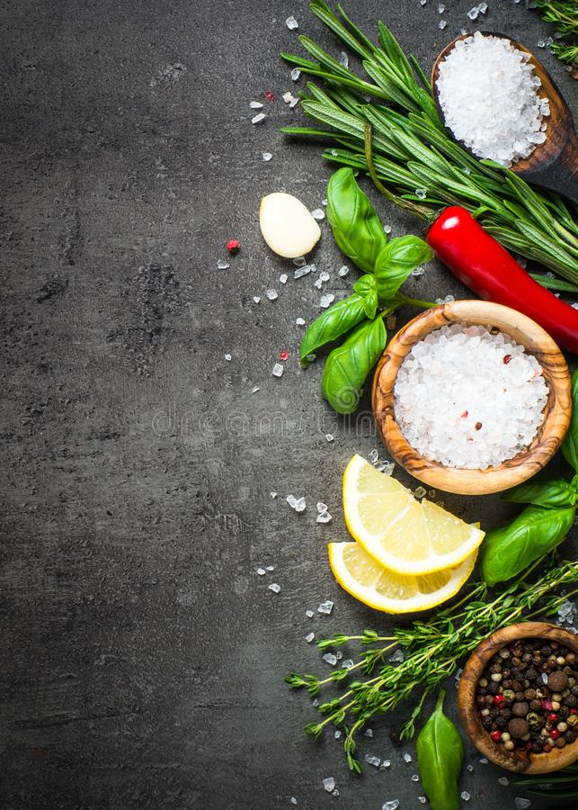 Selection of spices and herbs on dark stone table. stock images