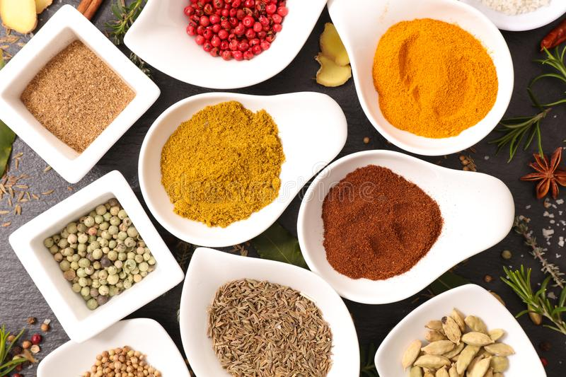 Selection of spices stock images