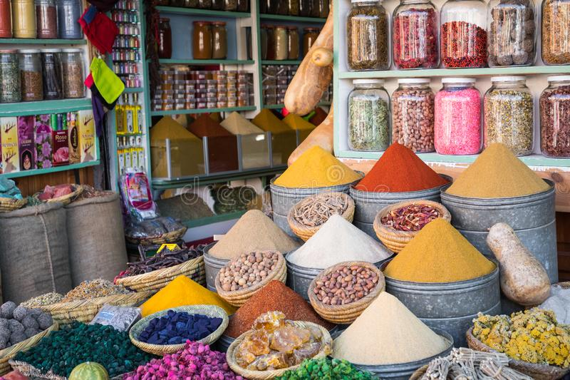 Selection of spices on a traditional Moroccan market souk in M royalty free stock photography