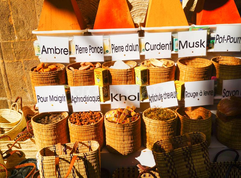 Selection of spices on a traditional Moroccan market souk in Marrakech stock images