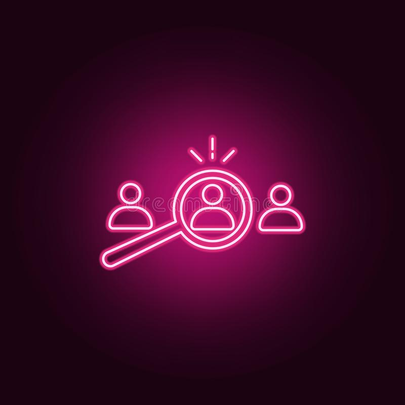 Selection of suitable candidate icon. Elements of interview in neon style icons. Simple icon for websites, web design, mobile app. Info graphics on dark vector illustration