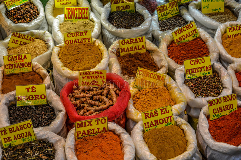 Selection of traditional spices on a market royalty free stock photo