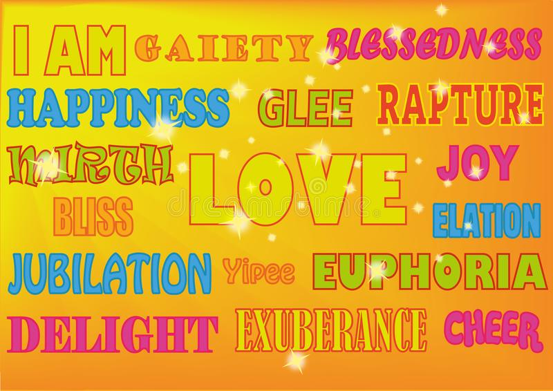 WORDS HAPPY NEON. A selection of uplifting words displayed in various styles such as: Happiness, love, joy, bliss, euphoria, delight, elation, glee, pleasure royalty free illustration