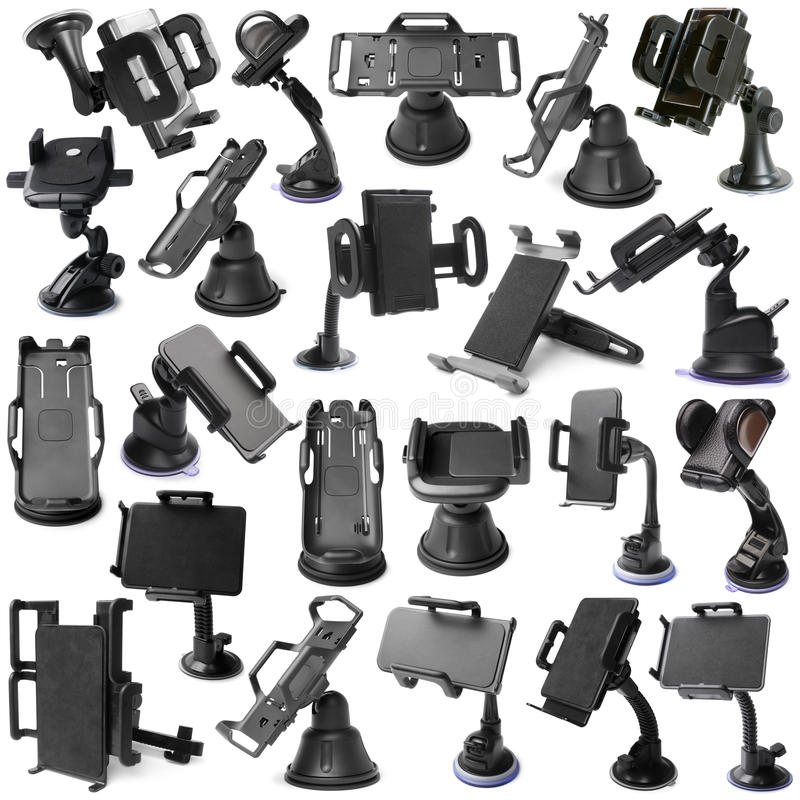 Selection of various car holders. On white background royalty free stock photography