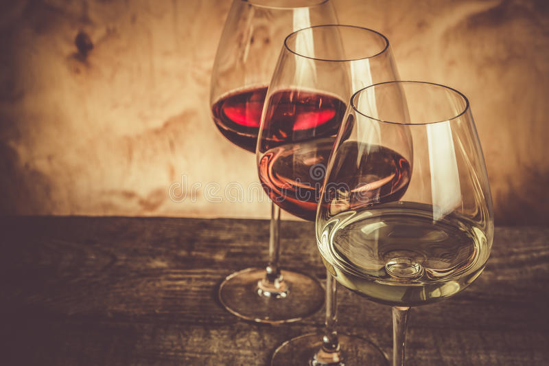 Selection of wine for tasting stock photography