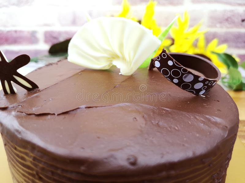 Selective focus of chocolate cake royalty free stock photo