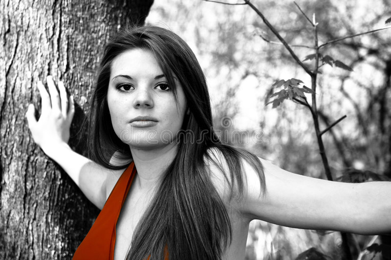 Download Selective Color Woman In Red Dress Royalty Free Stock Photo - Image: 4970115