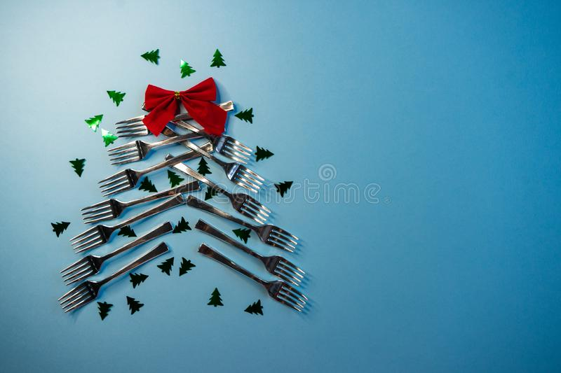 selective focus, alternative Christmas tree of table forks stock photos