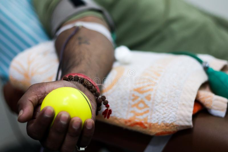 Selective focus of blood collection during blood donation and ball in palm for squeezing stock image