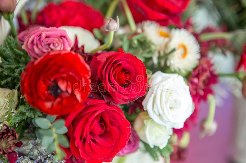 Selective focus of Bouquet  colorful roses. Selective focus of Bouquet colorful roses stock photos