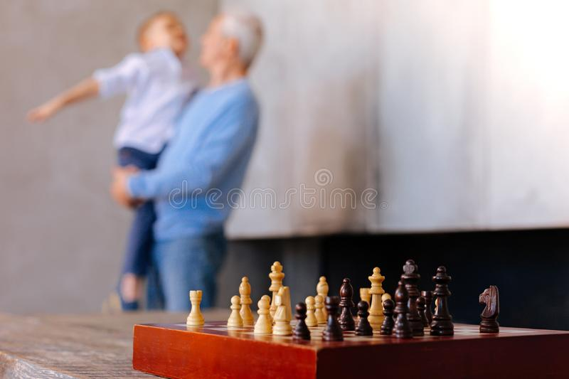 Selective focus of a chess set royalty free stock image