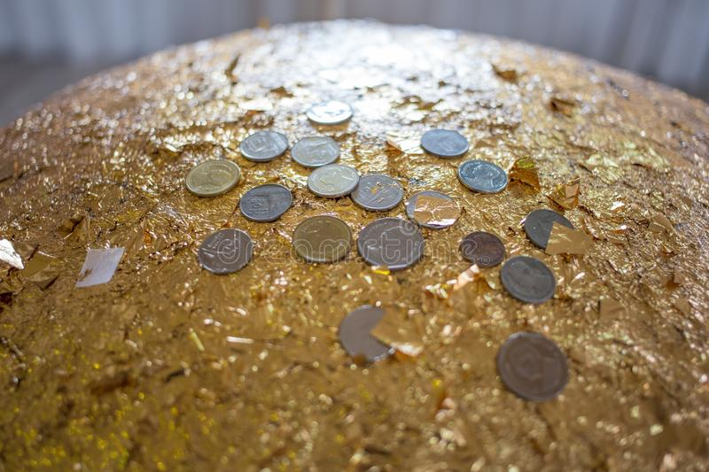 Close up of Coin on luuk nimit. Selective focus of Close up of Coin on luuk nimit stock photography