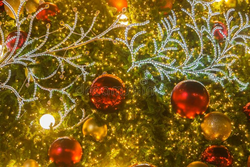 Close up of glow and glitter Christmas tree decorative ornament royalty free stock photos