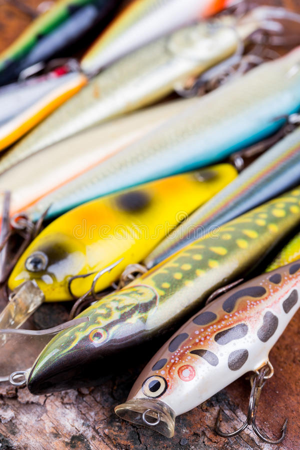 Selective focus closeup fishing bait wobbler royalty free stock image