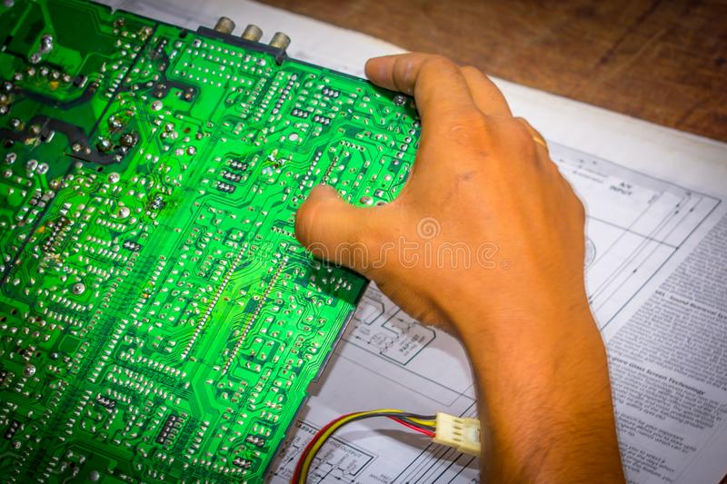 Selective focus Computer repair and upgrade concept Close-up view. Workshop background stock photography