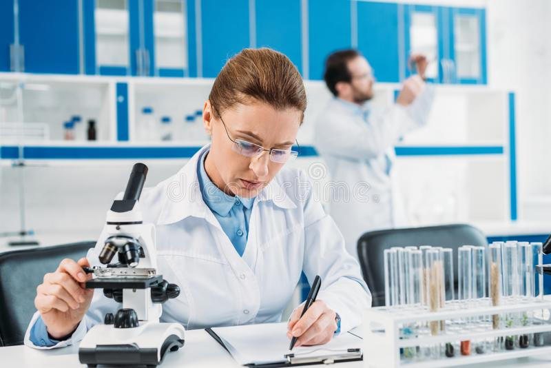 Selective focus of female scientist making notes in notepad at workplace with colleague behind. In lab stock photography