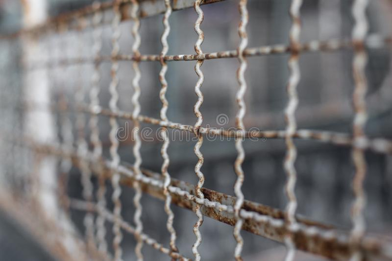 Selective focus of Fence grilles rust stock images