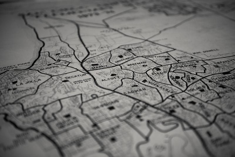 Selective focus grayscale shot of a vintage map. A selective focus grayscale shot of a vintage map royalty free stock photography