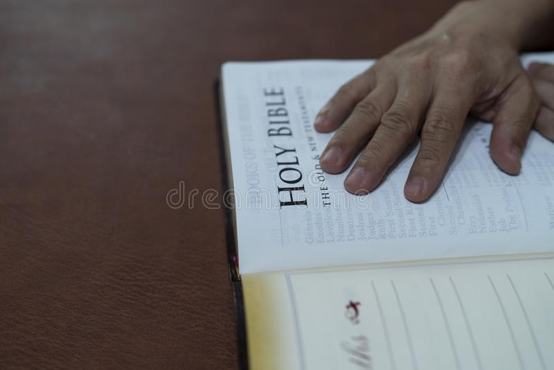 Selective focus holy bible book open for background and inspiration royalty free stock photos