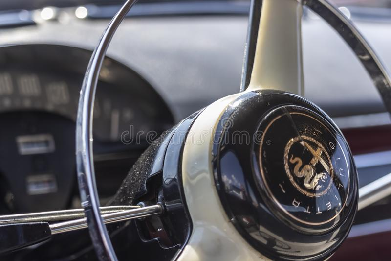 Selective focus on interior details of an Alfa Romeo Alfetta 1600. Ostia Lido-Rome, Italy. National Italian Police Association 50 Anniversary Vintage car Parade stock images
