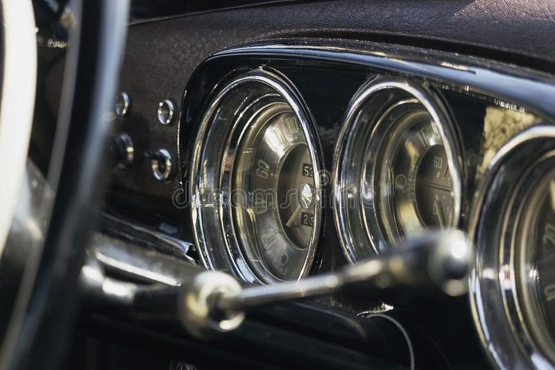 Selective focus on  Interiors details of a Vintage Police car  Alfa Romeo,1900 super. Exibited stock image