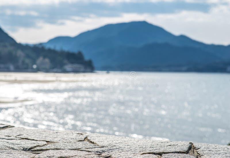 Selective focus. Itsukushima shrine, Miyajima island, Japan.  royalty free stock images