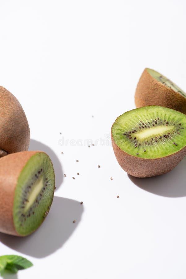 Selective focus of juicy kiwi fruits stock images