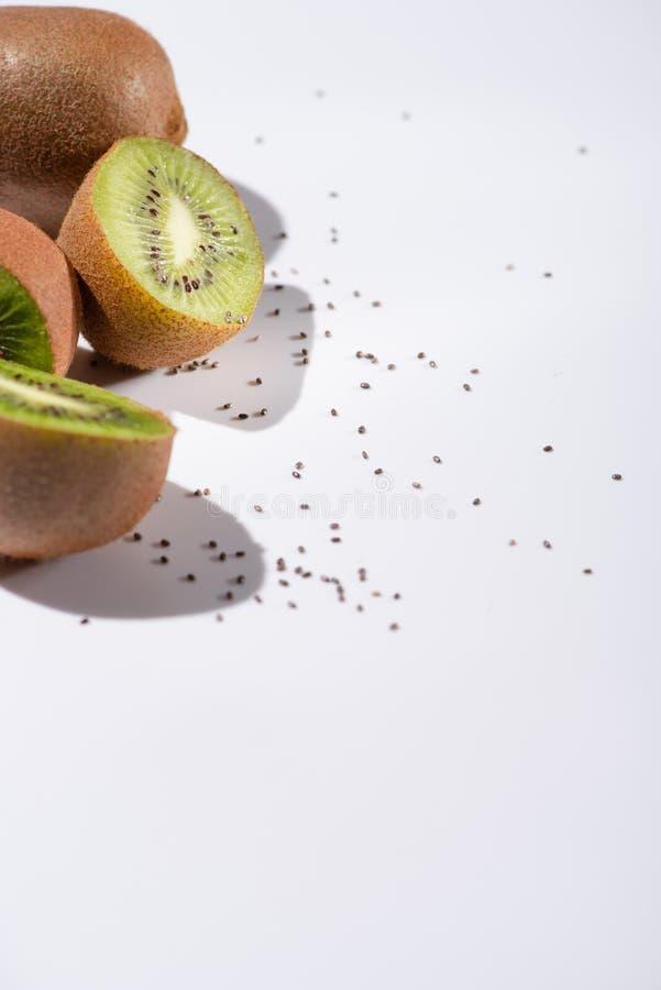 Selective focus of kiwi fruit halves royalty free stock photo