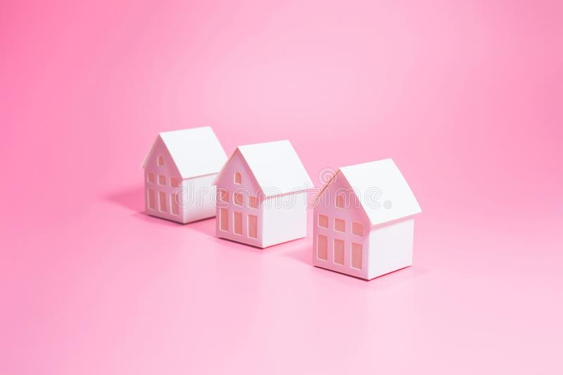 Selective focus of model house on pastel color background.Business property and real estate concepts. Environment and ecology ideas royalty free stock images